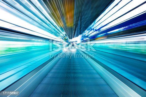 istock Abstract View of Moving Walkway in Airport Corridor 171155907