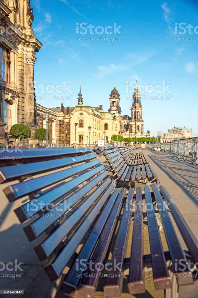Abstract view with the benches in the old city of Dresden, Germany. Black and white stock photo