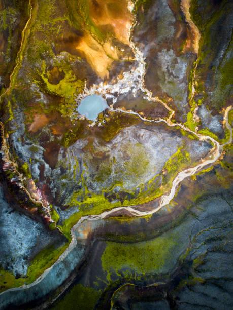 abstracte vulkanische land ruimte in de hooglanden van ijsland. - vulkaanlandschap stockfoto's en -beelden