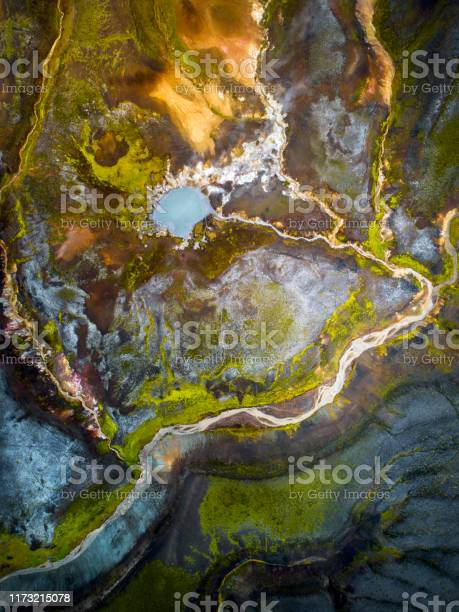 Photo of Abstract volcanic landspace in the highlands of Iceland.