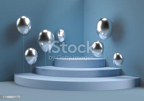 istock abstract wall corner with balloon scene 3d rendering minimal circle podium. 1149652172