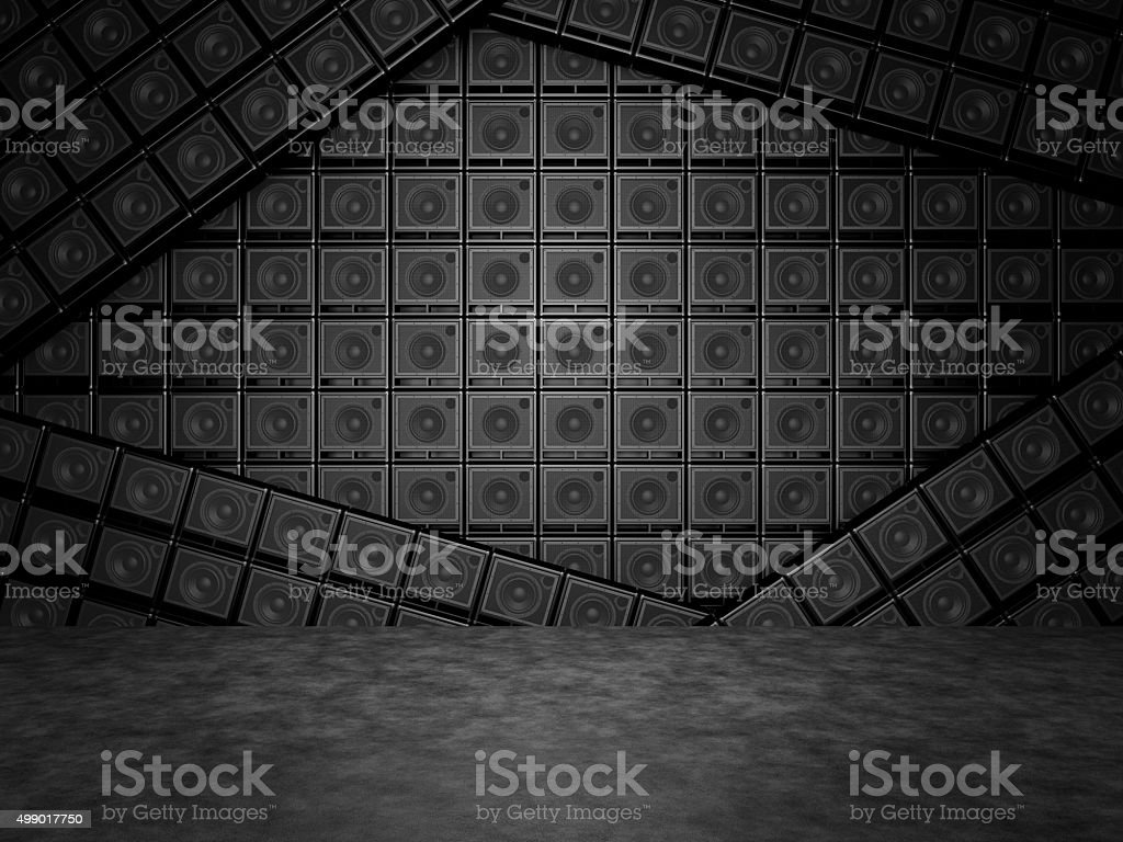 Abstract wall of guitar amps stock photo