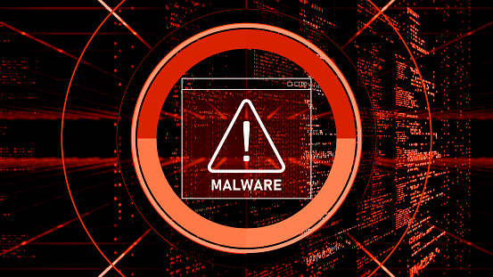 Malware Detected Warning Screen with abstract binary code 3d digital concept