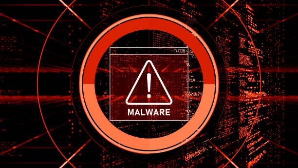 Abstract Warning of a detected malware program Malware Detected Warning Screen with abstract binary code 3d digital concept malware stock pictures, royalty-free photos & images
