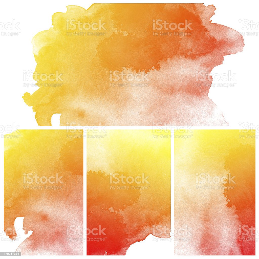 Abstract water color painting in orange and yellow royalty-free stock photo