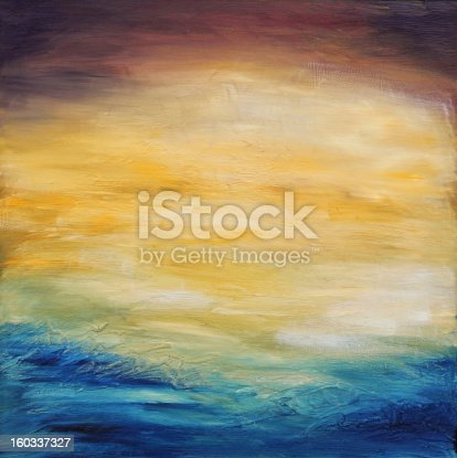 istock Abstract water sunset. Oil painting on canvas. 160337327