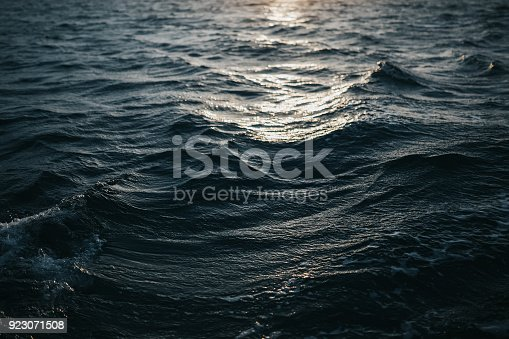 istock Abstract water texture background. Sun reflected on water 923071508