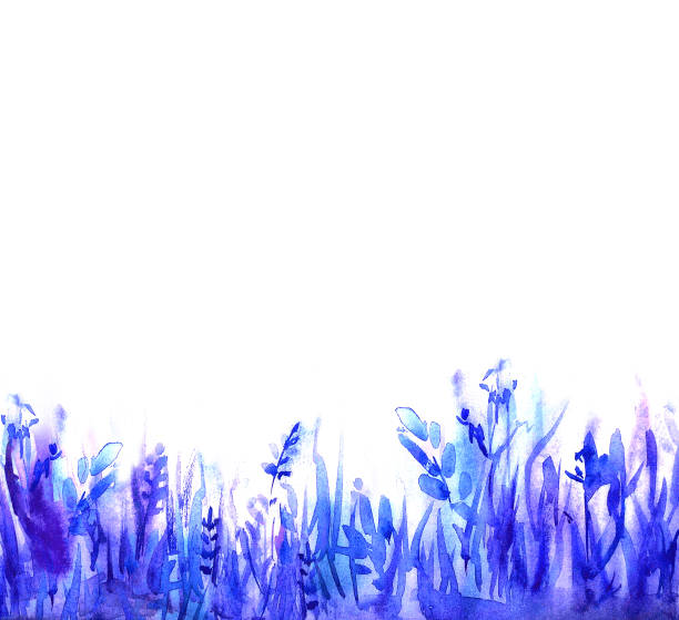 Abstract watercolor background: blue grass and leaves. Great for textures, banners, and greeting cards stock photo