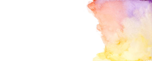 fundo abstrato da aguarela, aguarela colorida escovado fundo abstrato pintado, projeto e fundos da decoração, espaço para o texto - colorful background - fotografias e filmes do acervo