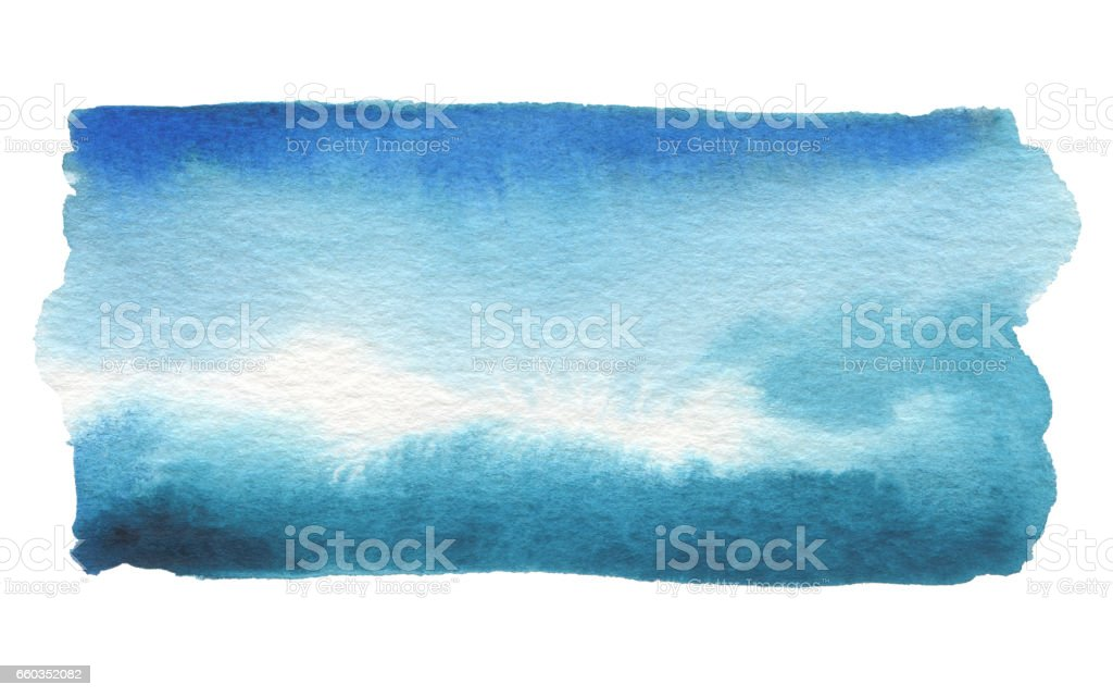 Abstract watercolor blue blot painted background. Texture paper. Isolated. stock photo