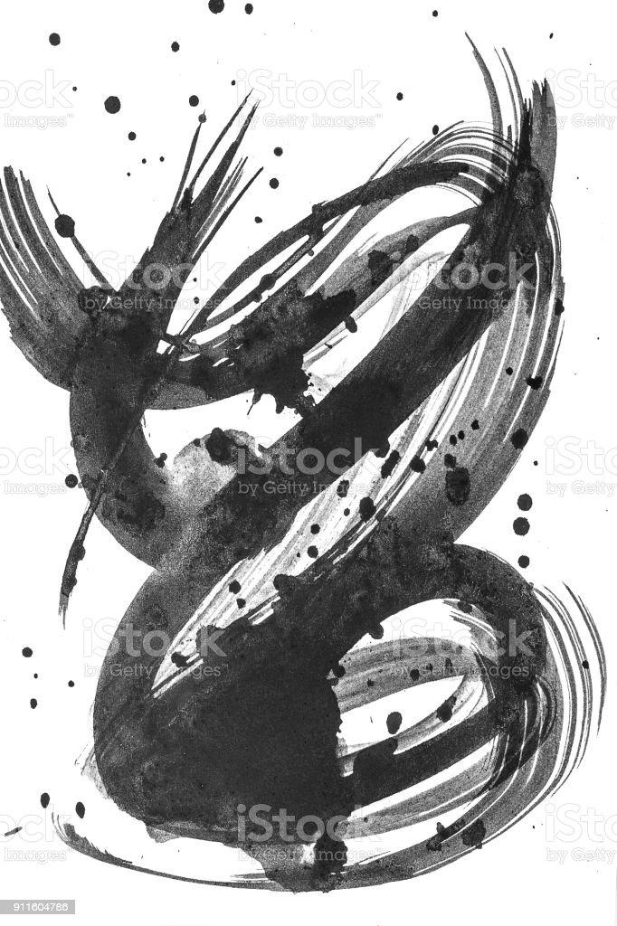 Pincel aquarela abstrata curso de pintura sobre fundo branco papel. Listra de pintura do grunge. Coleção preto pincel isolado. - foto de acervo