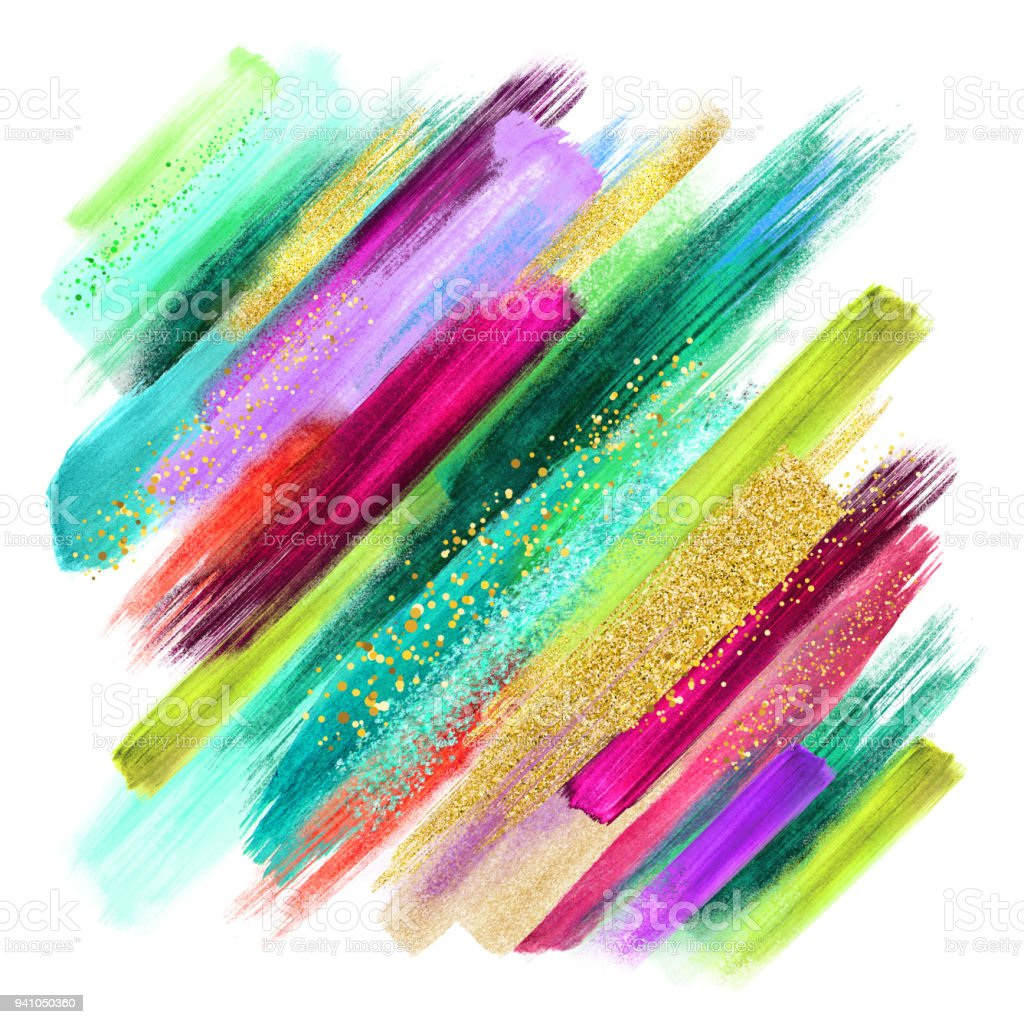 Abstract Watercolor Brush Strokes Isolated On White Creative Illustration Artistic Color Palette Boho