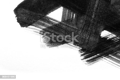 istock Abstract Watercolor brush strokes of paint on white paper background. Grunge Paint stripe . Black isolated paintbrush collection. 968451990