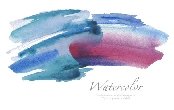 coups de pinceau aquarelle abstraite peint l'arrière-plan. papier de texture. isolé. - motif ornemental photos et images de collection
