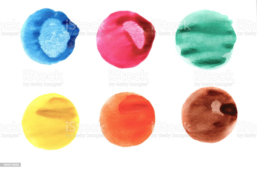 abstract watercolor circles isolated on white stock photo