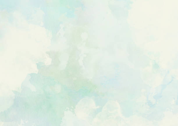 Abstract watercolor cloudscape painting in soft pastel colors stock photo