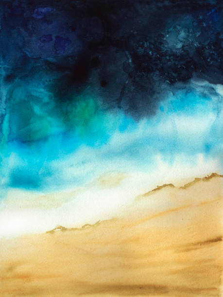 abstract watercolor gradient of Sea and sand stock photo