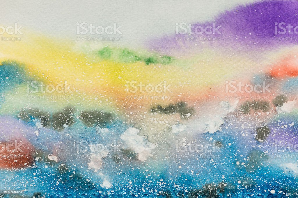 Abstract watercolor hand painted landscape background stock photo