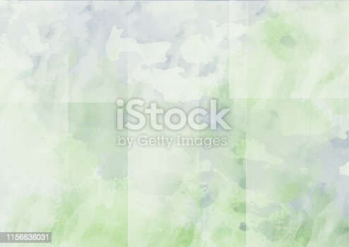 istock Abstract watercolor landscape painting in soft grey and green colors 1156636031