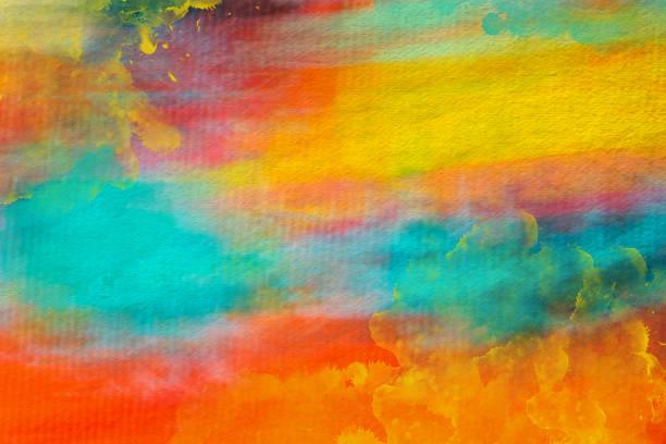 sulu boya boyalı renkli sanat arka plan - tuval üzerine akrilik stok fotoğraflar ve resimler
