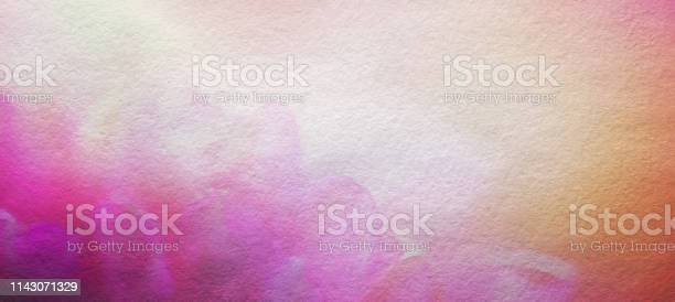 Photo of Abstract Watercolor Painted Flower Background, Horizontal with Copy Space