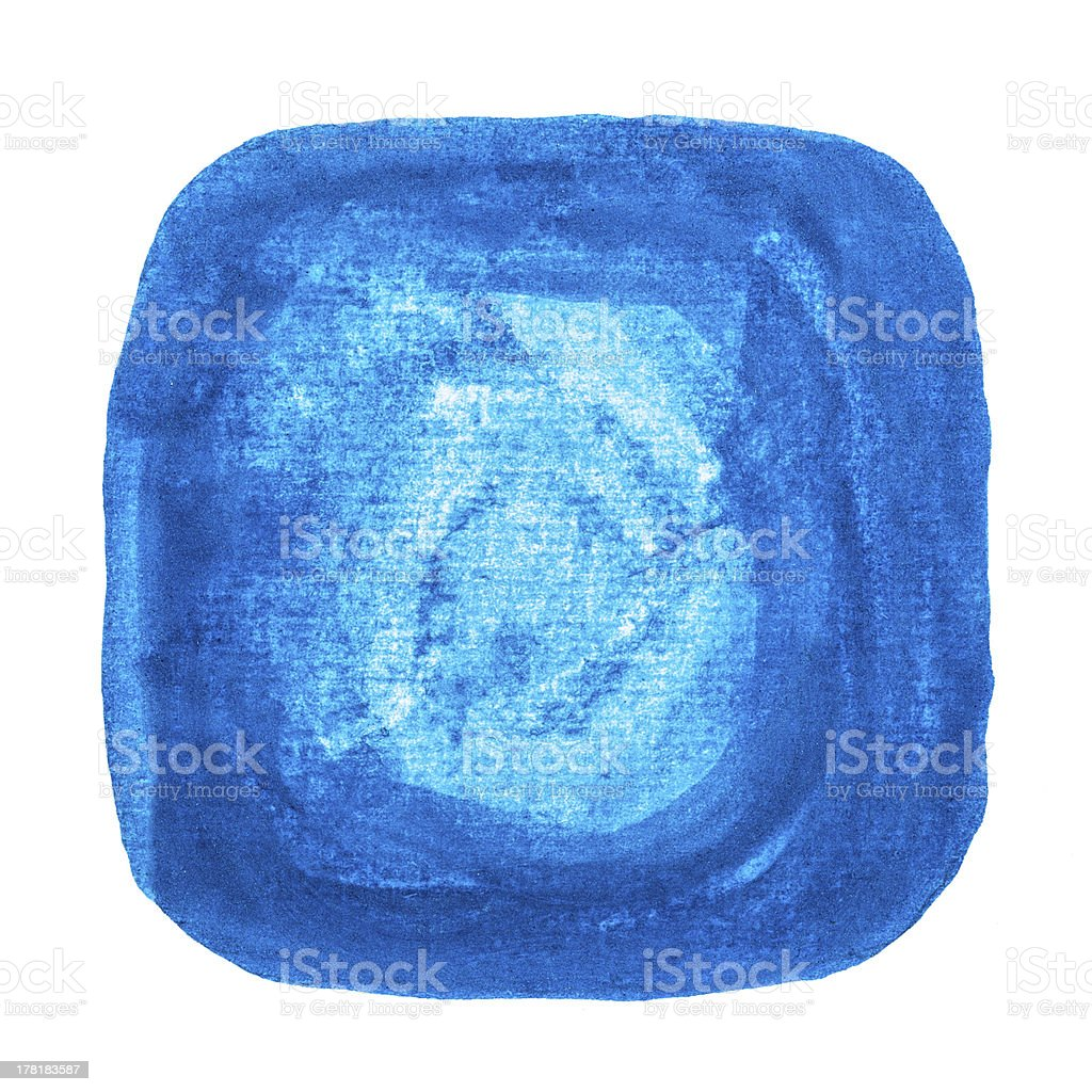 Abstract watercolor painted square isolated on white background royalty-free stock photo