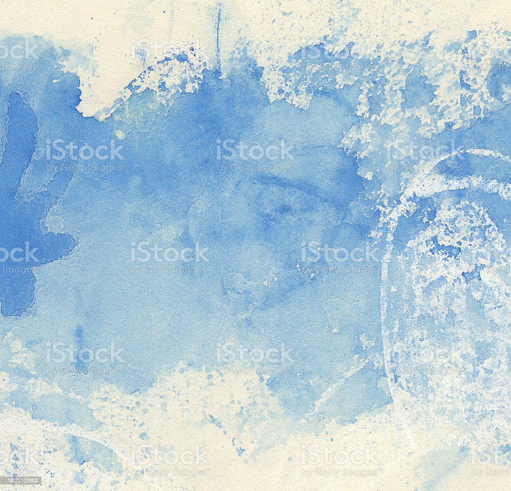 Abstract watercolor painting in shades of blue royalty-free stock photo