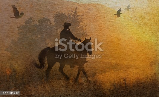Golden abstract image of a cowboy galloping on his horse with crows flying above with a yellow watercolor background.