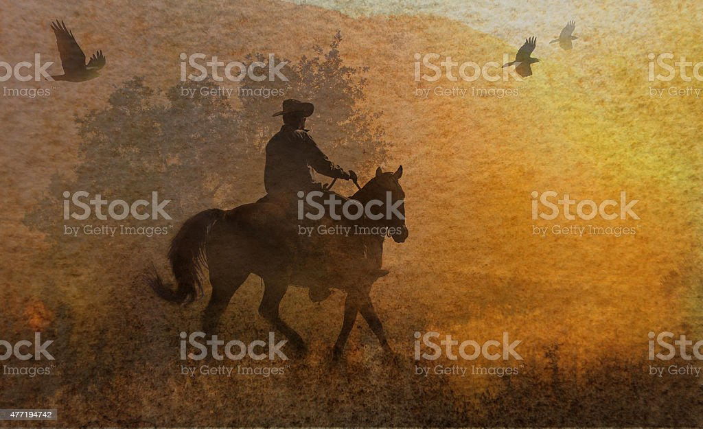 Abstract watercolor photography textured cowboy. stock photo