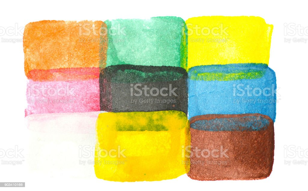 Abstract watercolor rectangles isolated on white stock photo