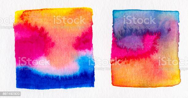 Photo of Abstract Watercolor Sunset
