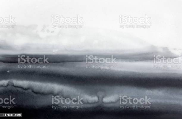 Photo of Abstract watercolour background with black and white monochrome marks, stripes and strokes. Hand painted water color grungy drawing on white. Creative backdrop for design, poster, frame, composition.