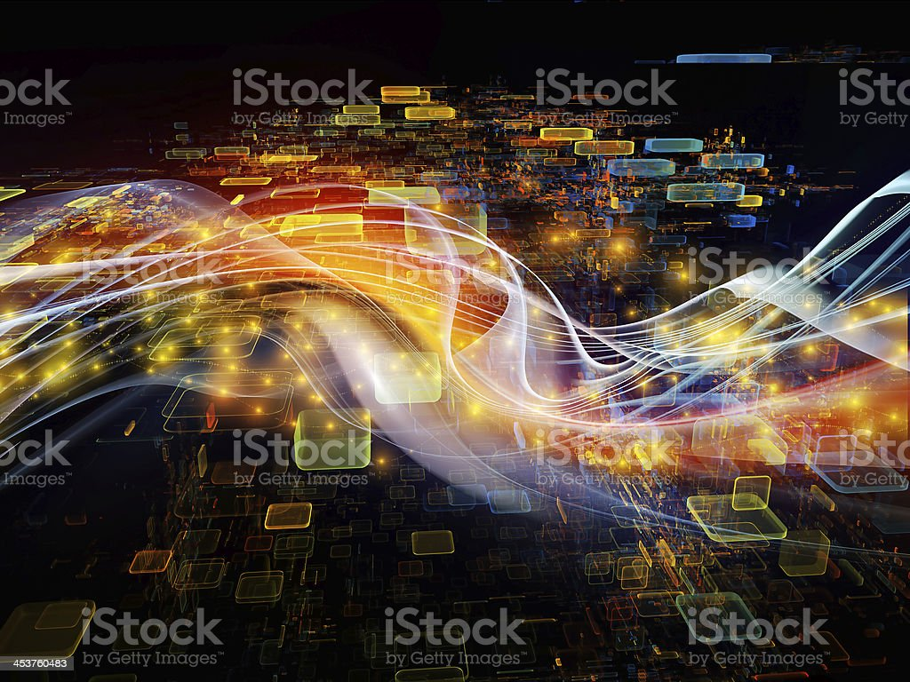 Abstract wave and digital square illustration over black stock photo