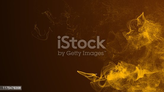 846933050 istock photo Abstract Wave Of Gold glitter Particles dust animation 3D rendering 1175476358