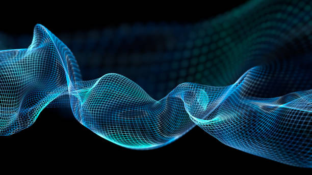 abstract wave structure scientific background - mesh textile stock photos and pictures