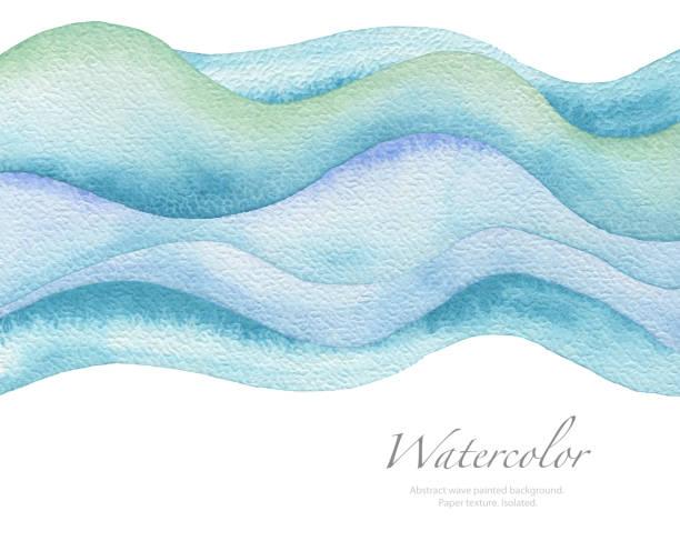 Abstrakte Welle Aquarell Hintergrund gemalt. Papierstruktur. Isoliert. – Foto