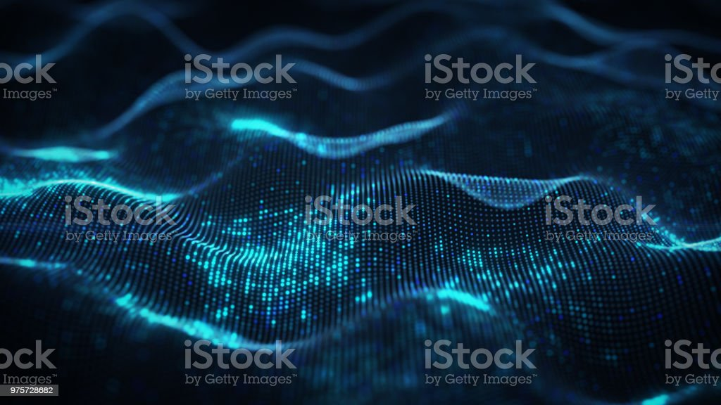 Abstract waves shape of dots 3D rendering royalty-free stock photo