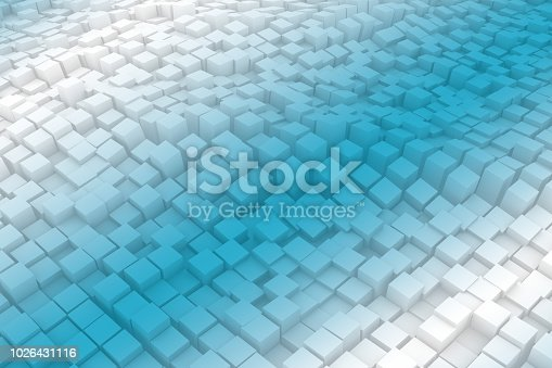 istock Abstract Wavy 3D Cubes Background with color gradient 1026431116