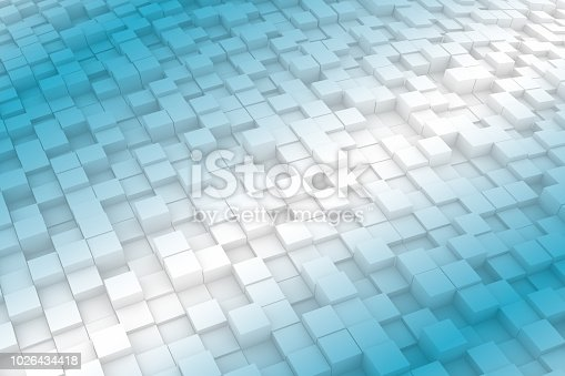 istock Abstract Wavy 3D Cubes Background with color gradient 1026434418