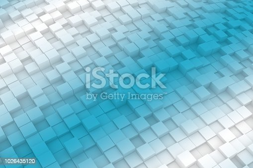 istock Abstract Wavy 3D Cubes Background with color gradient 1026435120
