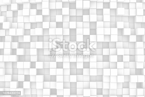 istock Abstract Wavy 3D Cubes White Background 1026430224