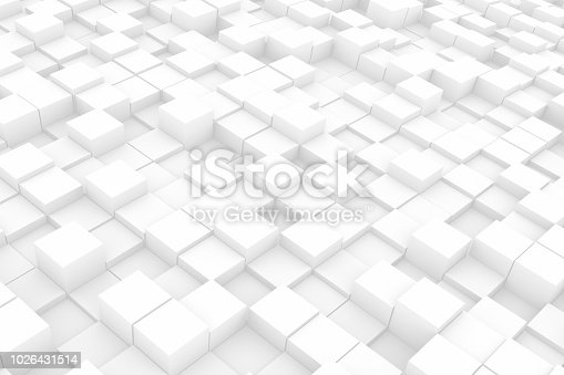 istock Abstract Wavy 3D Cubes White Background 1026431514