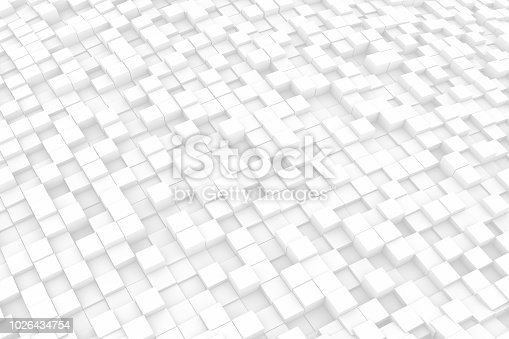 istock Abstract Wavy 3D Cubes White Background 1026434754