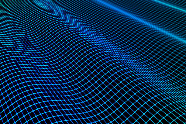 abstract wavy technology background - grid pattern stock photos and pictures