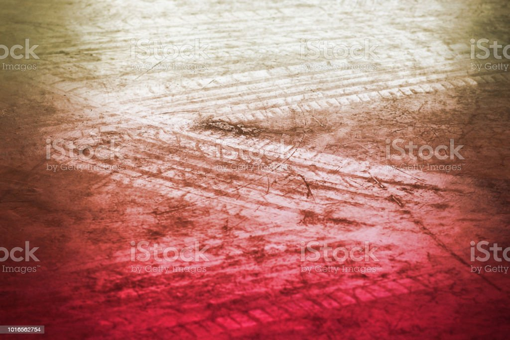 abstract wheel trail background, black and white, soft focus stock photo