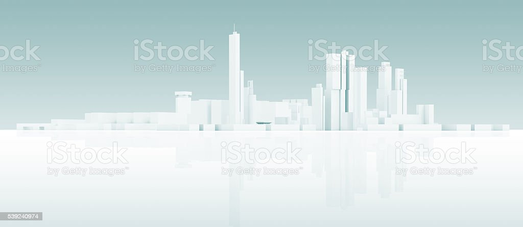 Abstract white 3 d modern cityscape skyline royalty-free stock photo