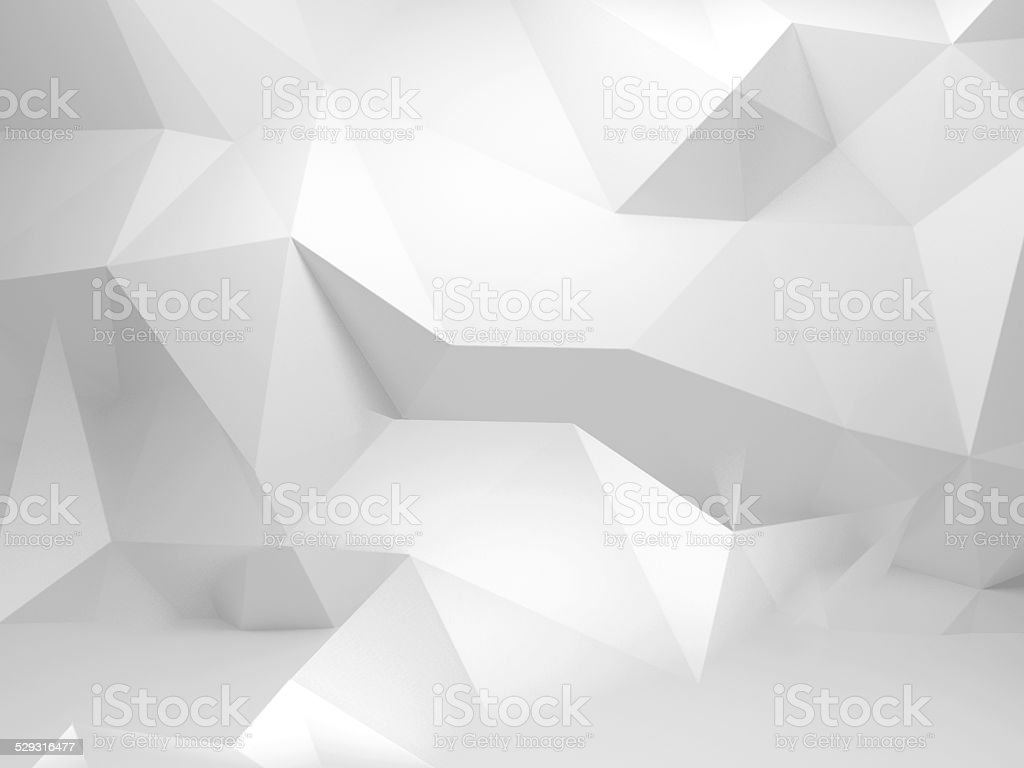 Abstract white 3d background with polygonal pattern stock photo