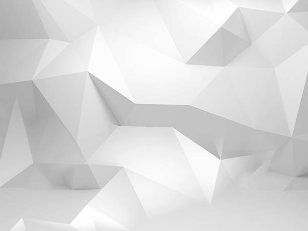 abstrait polygonal fond blanc 3d avec motif - triangle forme bidimensionnelle photos et images de collection