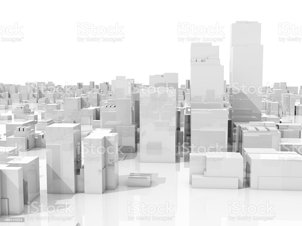 Abstract white 3d cityscape skyline on white stock photo