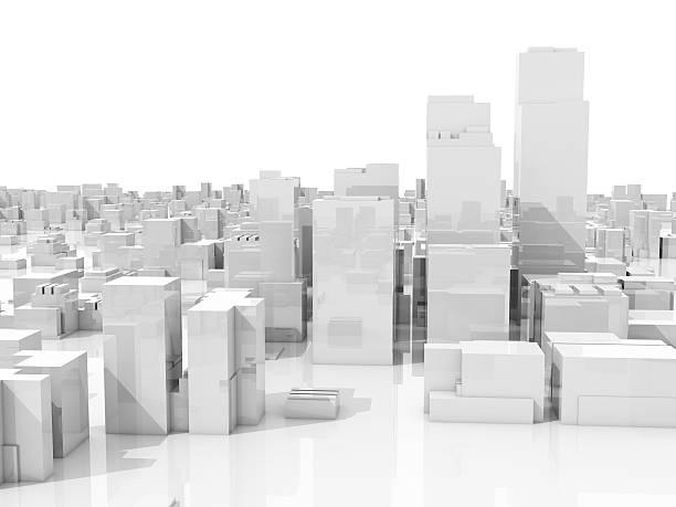抽象的なホワイトオンホワイトに 3 d の景観の街並み - 模型 ストックフォトと画像